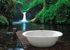Naturdesign ist ein Fest fürs Auge! Nicht umsonst hat die Farbe Grün eine neue Bewegung im Bad ausgelöst, in der Natürlichkeit, Nachhaltigkeit sowie Wohlfühlklima und Behaglichkeit zählen. ©Vereinigung Deutsche Sanitärwirtschaft (VDS) / ©Kaldewei